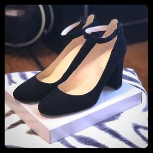 Marc Fisher Suede Pumps with Ankle Strap